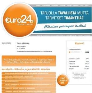 Euro24 kautta vakuudetonta luottoa 2000 euroon asti