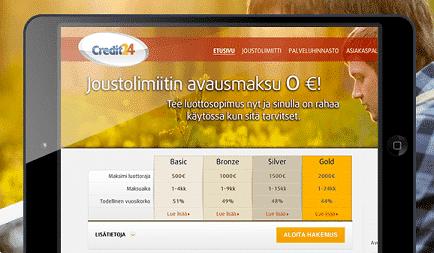 Credit24 mobiilisovellus - lainaa puhelimella vain yhdellä painalluksella